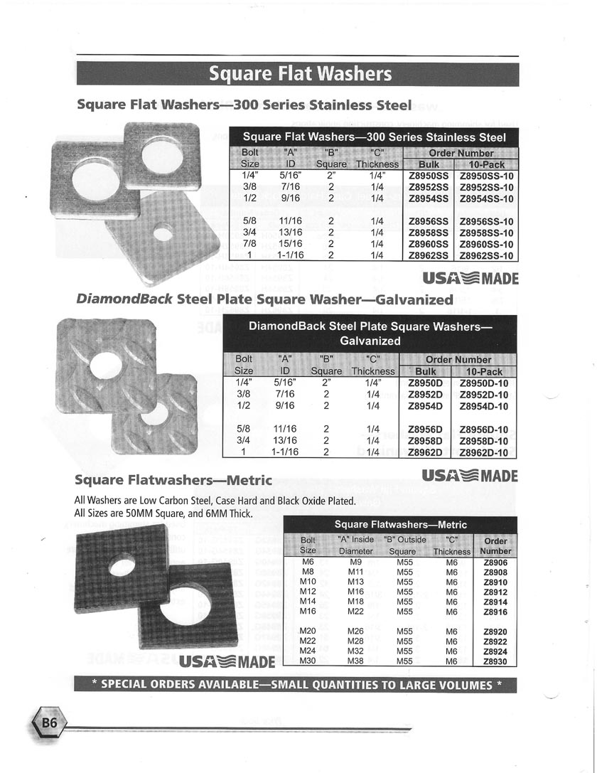 Square Flat Washers Stainless Steel \u0026 Diamondback Steel Plate \u0026 Metric  sc 1 st  WashersUSA.com : square plate washer - pezcame.com